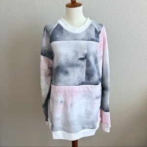 NWT Hurley Watercolor Pink Grey Pullover XL